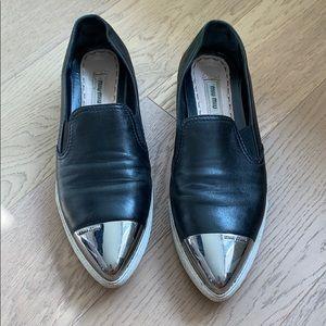 Miu Miu Metallic Captoe Slip-Ons